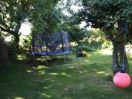 Orchard with trampoline and swingball