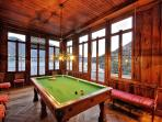 For entertainment, a wonderful office study, a lake view games room with a full size snooker table