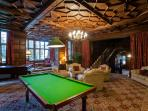 Great Hall with pool table, baby grand piano & wood panelling