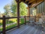 Step out onto the back deck and enjoy the mountain views.