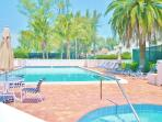 Adult pool, loungers tables chairs & spa. Clubhouse sauna, locker rooms showers