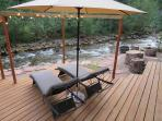 River Side Deck for 2 with Festival Lights