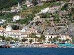 View of Minori from the sea (the building is in the centre of the picture)