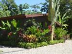 Casita surrounded by lush greenery on the banks of the river