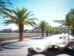 Miles of boardwalk along the sea in Puerto de Mazarron, perfect for walking of bicycling