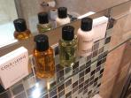 en suite shower room with complimentary goodies