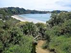 Top of 'Jacob's Ladder' looking down on Onetangi Beach, 100m from Grasshopper