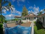 Bright and Happy 4 bedroom, directly oceanfront with hot tub and sunset views