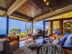 Gorgeous Views of the Pacific Ocean from the Living Room Area of the Great Room