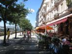 Beautiful streets lined with cafe's, bars and restaurants along the banks of the Danube