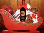 Complimentary Holiday Basket with Wine,Champagne or Sparkling cider & Chocolates.