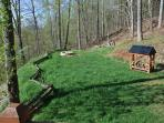 The Grassy Yard with Fire Pit