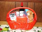 Complimentary Holiday basket with red or white wine or sparkling cider, chocolates & snacks.