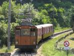 This cog railway train leads up to La Rhune the mythical peak of the Basque country