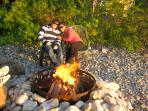 Enjoy a Fire on the Beach while Watching the Sun Set over the Bay.