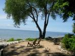North End of our Beach with Shade from our Trees for Reading.