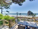 Oceanside home with private hot tub, views of Haystack Rock!