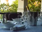 The dining on the terrace