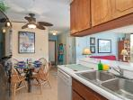 The kitchen is equipped with everything you need for cooking and eating at home.