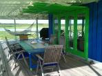 Boathouse outdoor covered dining area