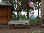 Picnic table with views of Lake Granby and Continental Divide