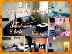 LUXURY 3 BEDROOM FLAT- UP TO 8 BEDS - FREE WIFI