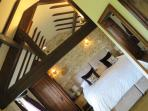 The spacious bedroom with a choice of superking or twin beds