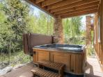 Private hot tub on lower level walk out.