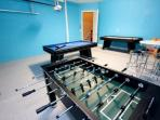 Foosball, pool, air hockey, table and chairs