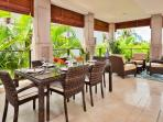 E202 Ocean Pearl Beautiful Private Covered Veranda with Partial Ocean View, Viking BBQ, Chaise Lounge Chairs, Dining...
