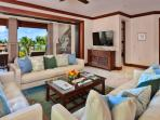 Expansive Great Room at E202 with Partial Ocean View and new Italian Leather Sofas, Lamps, Tables, Area Rug, Outdoor...