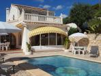 Poolside terraces with sunbeds and parasols