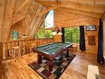 Lofted Game Room with Pool Table at Pool House