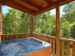 Covered Deck with Hot Tub at Pool House