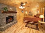 King Bedroom with Fireplace at Pool House