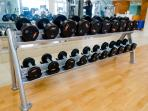 Some of the weights in the fitness center on 3rd floor.