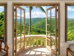 Silent Waters Villa guest suite 1 bathroom balcony with mountain view