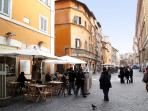 The main Piazza of the Jewish Ghetto. Pedestrian area.