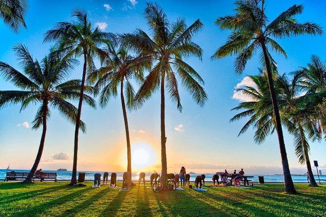 Beach Yoga on Waikiki Oceanfront with Diamondhead Backdrop