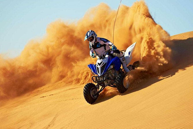 Dubai 30-Mins Quad Bike Ride,Desert Safari,Camel Ride,Sand Boarding & BBQ Dinner