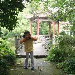孩子在酒店的院子里玩得很开心