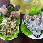 鲍鱼海螺拌菜、生吃江珧贝 非常好吃