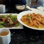 咖喱虾,芥兰
