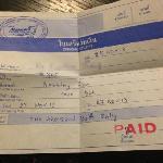 酒店1000铢罚款收据