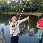 happily fishing