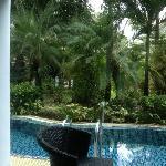 房间外阳台就有泳池