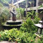 酒店内到处都有美丽的热带植物、流水、喷泉…