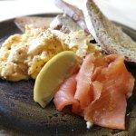 scrambled eggs and smoked salmon