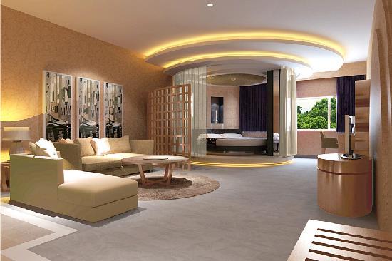 Gangwan Business Hotel : 房间面积:55平方米;设计新颖;床型/床宽:1张圆床/2米X2米;空调,冰箱,配有液晶电脑;液晶电视,保险柜,独立卫生间,24小时热水。最浪漫的房间。