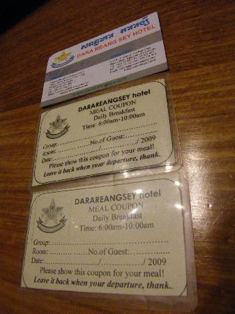 Dara Reang Sey Hotel Siem Reap: 酒店名片及早餐券